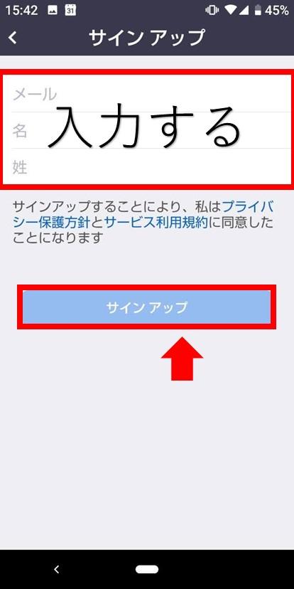 Zoomメール・姓・名入力画面
